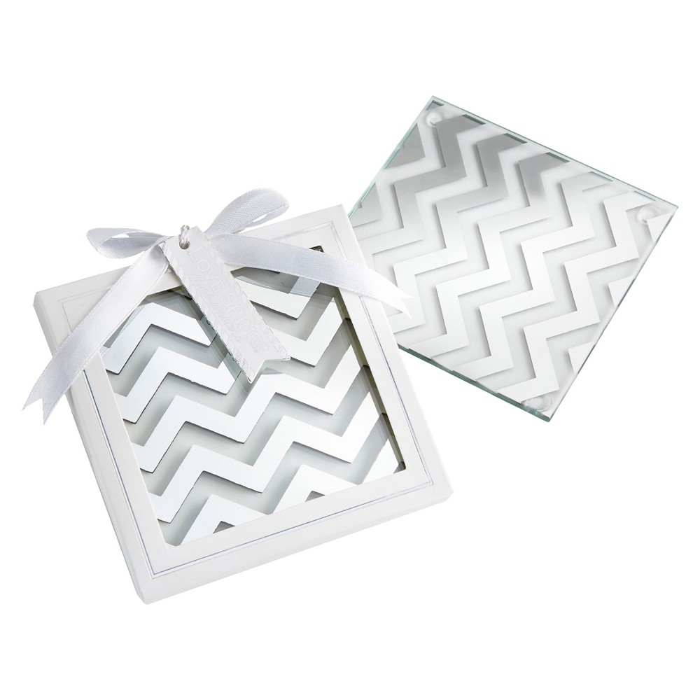 12ct Kate Aspen Shimmer and Shine Silver Chevron Coaster, Silver/Clear
