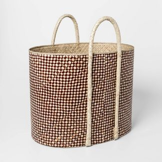 "19.6"" x 18.2"" Pandan Oval Basket Brown/Natural - Threshold™"