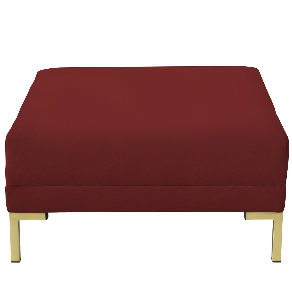 Audrey Ottoman Dark Berry Velvet and Brass Metal Y Legs - Cloth & Co.