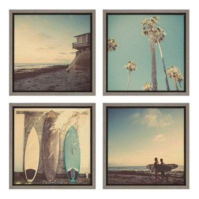 """4pc 13"""" x 13"""" Sylvie House On Beach Framed Canvas Set By Shawn St. Peter Gray - DesignOvation"""