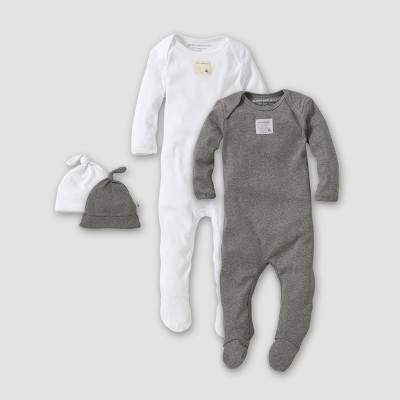 Burt's Bees Baby® Organic Cotton 4pc Footed Coverall and Hat Set - White/Heather Gray 3-6M
