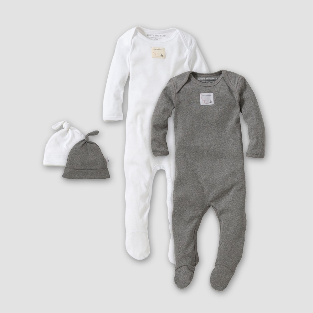 Burt's Bees Baby Organic Cotton 4pc Footed Coverall and Hat Set - White/Heather Gray Preemie, Infant Unisex