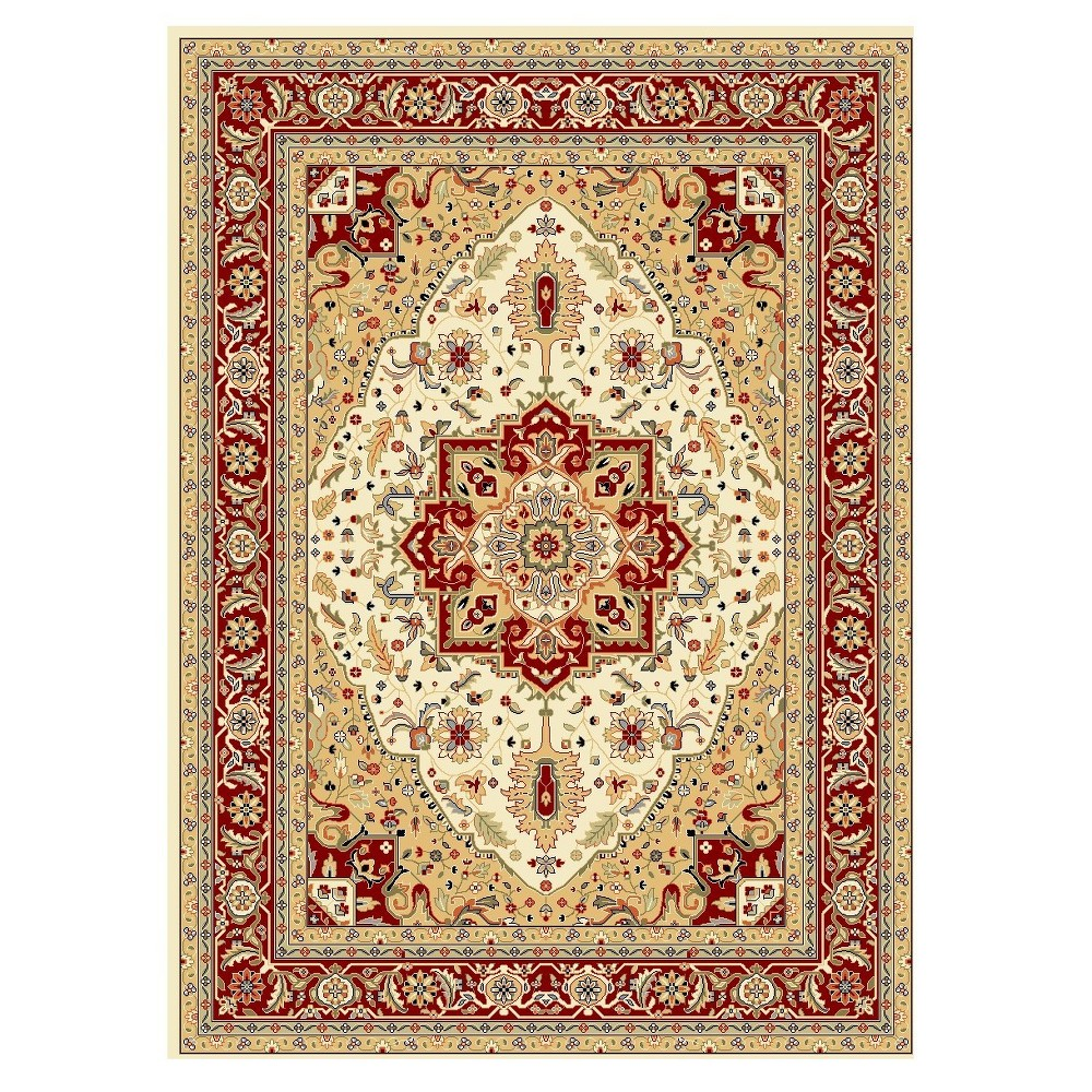Ivory/Red Floral Loomed Area Rug 8'X11' - Safavieh, Brown