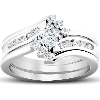 Pompeii3 1/2 Ct Marquise Diamond Engagement Trio Wedding Ring Set 10k White Gold