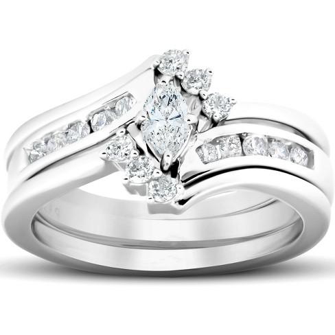 Pompeii3 1 2 Ct Marquise Diamond Engagement Trio Wedding Ring Set 10k White Gold Target