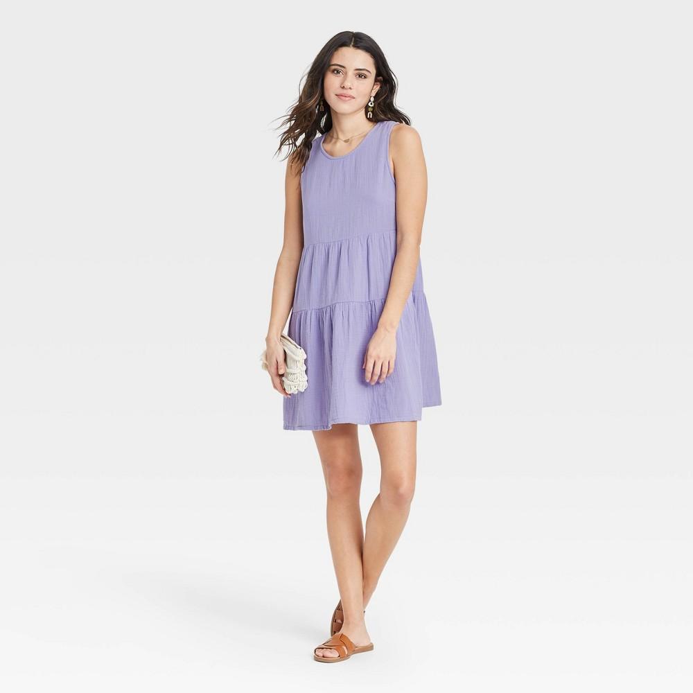 Women 39 S Gauze Tiered Tank Dress Universal Thread 8482 Purple Xxl