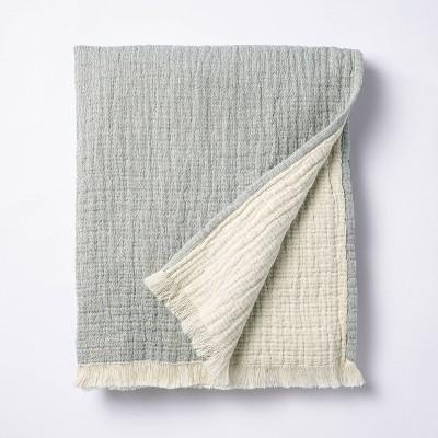 Reversible Gauze Throw Blanket Blue - Threshold™ designed with Studio McGee