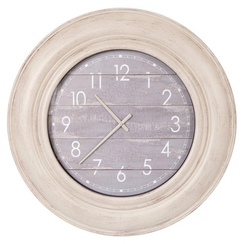 "30"" Distressed Wood Plank Wall Clock Gray - Patton Wall Decor - image 1 of 4"