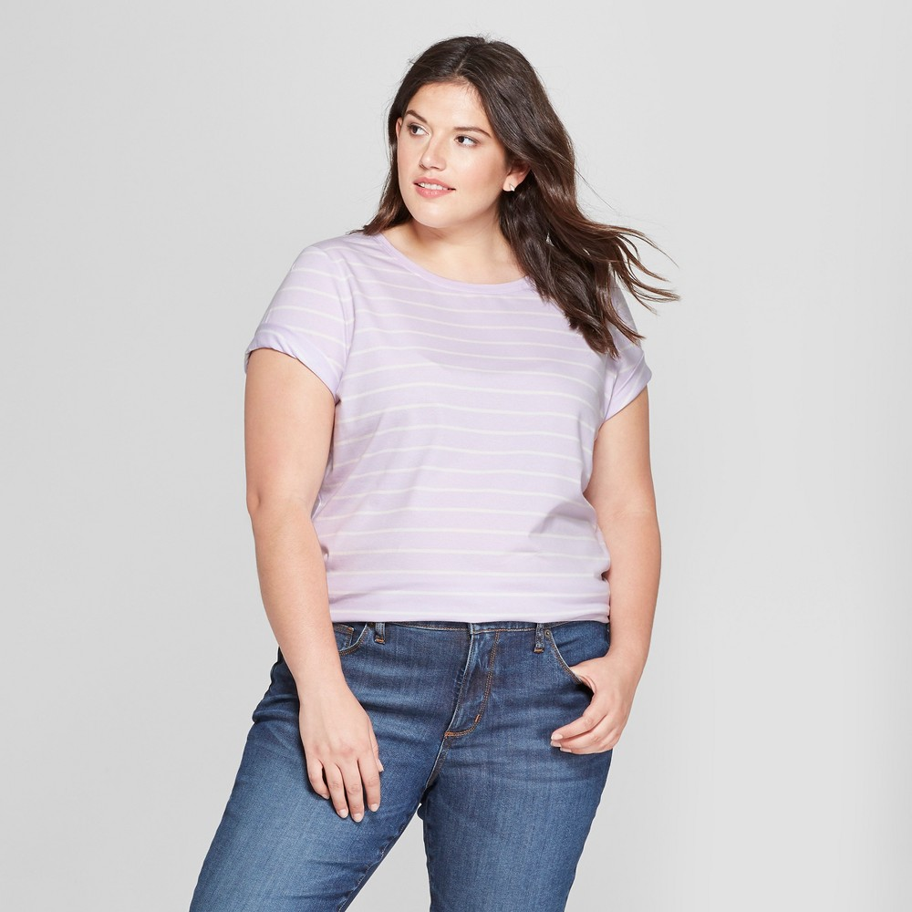 Women's Plus Size Striped Crew Neck Short Sleeve T-Shirt - Ava & Viv Purple/White 3X