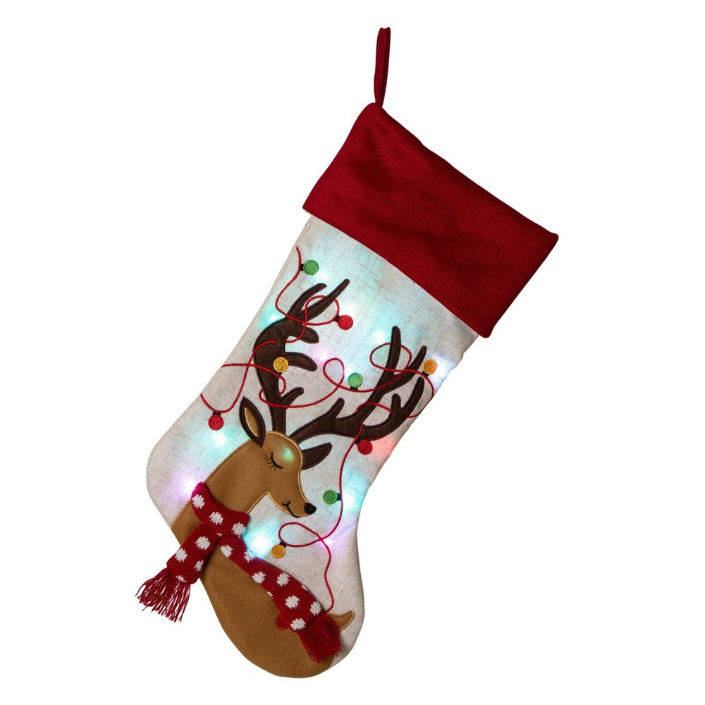 Image of Reindeer LED Embroidered Linen Christmas Stocking - Glitzhome