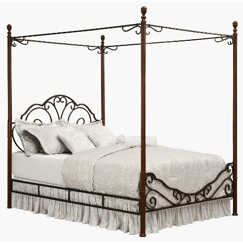 Sereno Metal Canopy Bed King Bronze Cherry Inspire Q