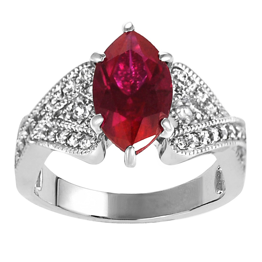 2 1/3 CT. T.W. Marquise-cut Garnet Cubic Zirconia Bridal Prong Set Ring in Sterling Silver - Red, 9, Girl's