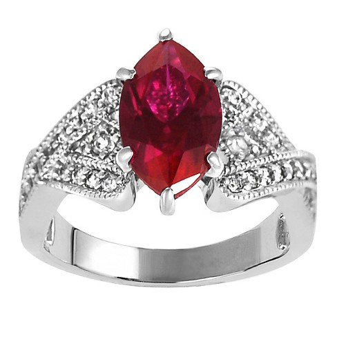 2 1/3 CT. T.W. Marquise-cut Garnet Cubic Zirconia Bridal Prong Set Ring in Sterling Silver - Red - image 1 of 2