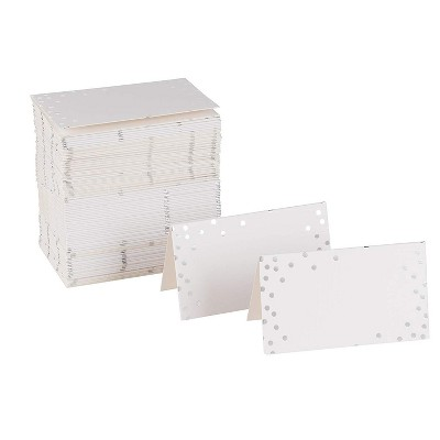 Best Paper Greetings 100-Pack Folded Silver Foil Polka Dots Blank Seating Tent Table Number Signs Place Cards, 2 x 3.5 in