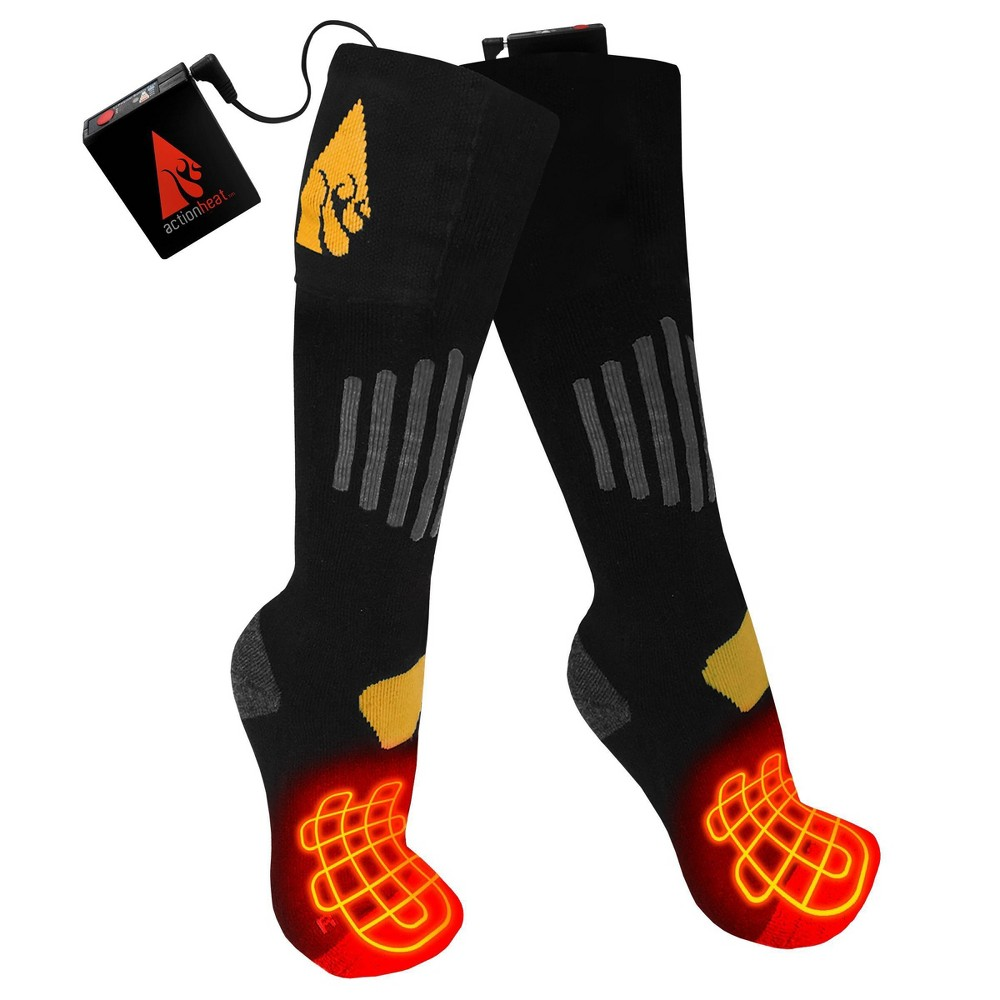 Image of ActionHeat Cotton 3.7V Rechargeable Heated Socks - Black L/XL, Size: Large/XL