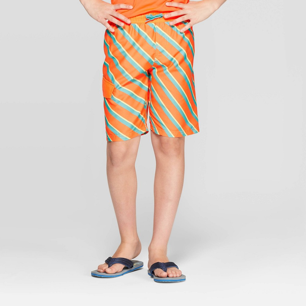 fac3bb56ce Boys Orange Blue Angel Stripe Swim Trunks Cat Jack Orange M