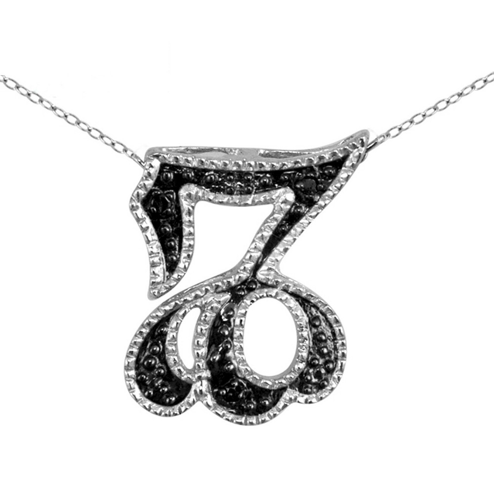 Women's Accent Round-Cut Black Diamond Pave Set Capricorn Zodiac Pendant - White (18)