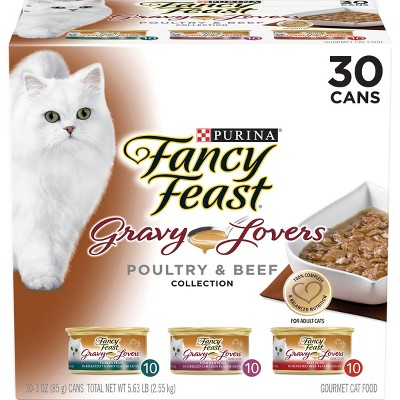 Purina Fancy Feast Gravy Lovers Poultry & Beef Collection Gourmet Wet Cat Food - 3oz/30ct Variety Pack