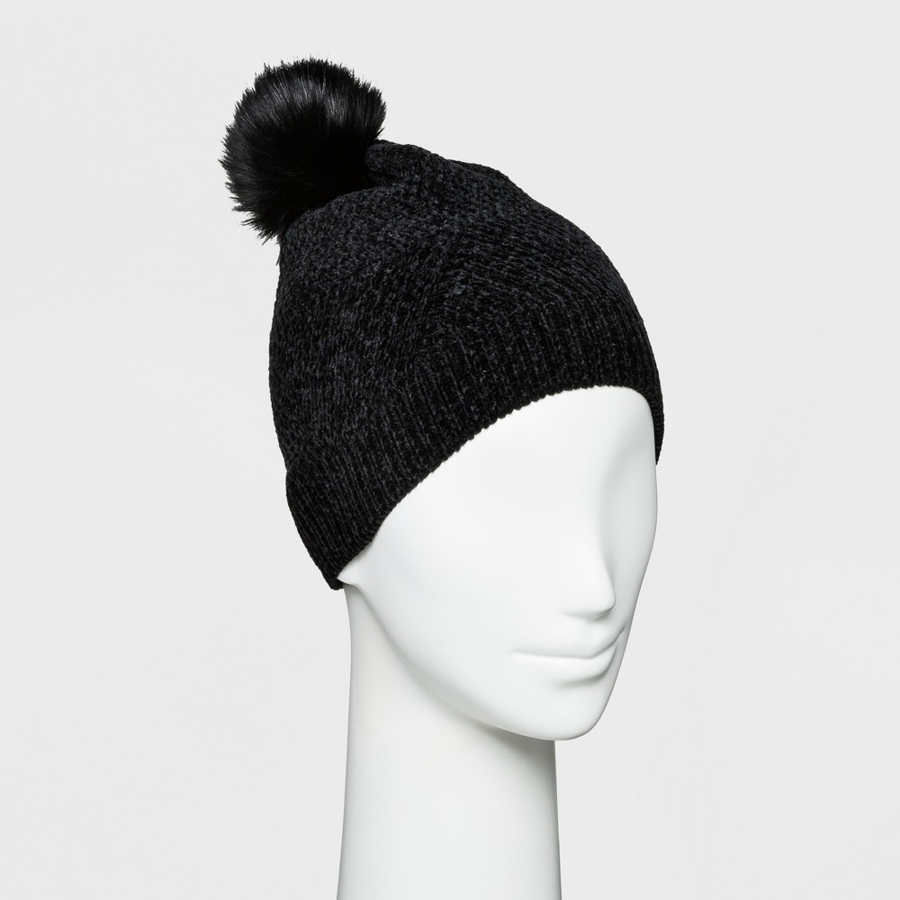 Women's Textured Chenille with Faux Fur Pom Beanie - A New Day Black