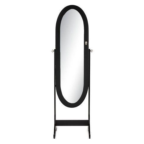 Apache Wood Oval Shaped Free Standing Cheval Mirror Jewelry Armoire - Baxton Studio - image 1 of 5