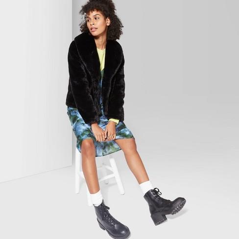 Women's Long Sleeve Short Faux Fur Coat - Wild Fable™ Black - image 1 of 3