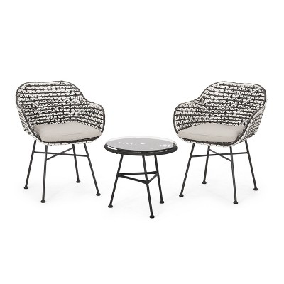 Beulah 3pc Patio Wicker Chat Set - White/Beige/Black - Christopher Knight Home