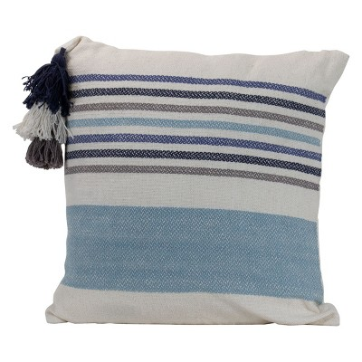 """Striped Hand Woven 18x18"""" Decorative Cotton Throw Pillow with Hand Tied Umbrella Tassel - Foreside Home & Garden"""