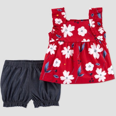 Baby Girls' 2pc Floral Top and Bottom Set - Just One You® made by carter's Red