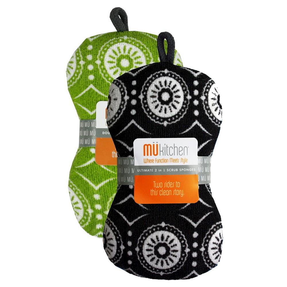 "Image of ""Marrakesh Scrub Sponge Set Black & Green (3""""X6.5"""") - Mu Kitchen"""