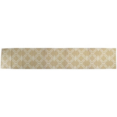 """Northlight 88"""" Tan and White Oversize Print Polyester and Linen Table Runner"""