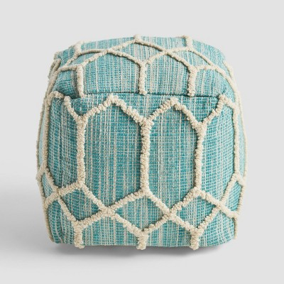 Bluesage Moroccan Inspired Ottoman Pouf Aqua/Ivory - Christopher Knight Home