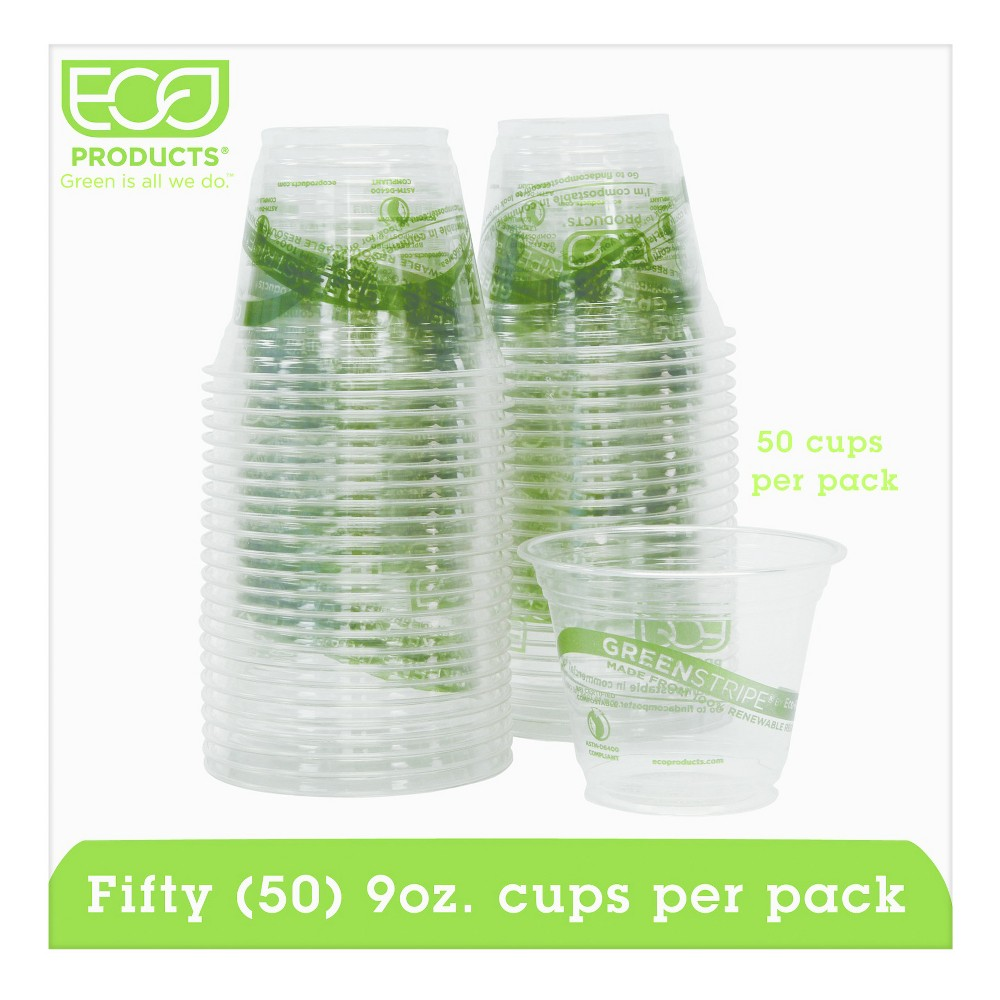 Eco-Products Green Stripe Renewable & Compostable Cold Cups Convenience Pack 9oz - 50ct, Clear