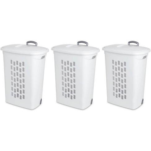 Sterilite White Laundry Hamper with Lift-Top, Wheels, And Pull Handle (3 Pack) - image 1 of 4