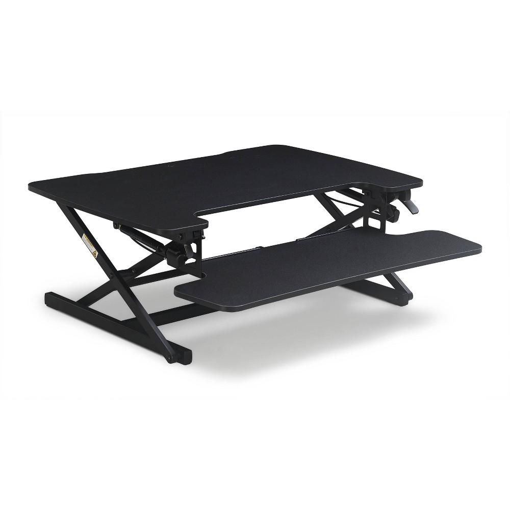 Large Ergo Height Adjustable Standing Desk Converter Black True Seating