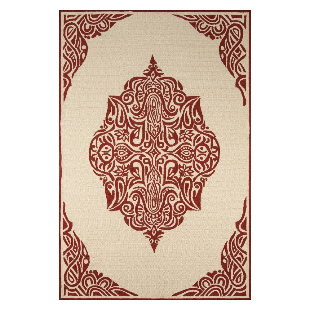 2'X3' Medallion Hooked Accent Rug Red - Momeni