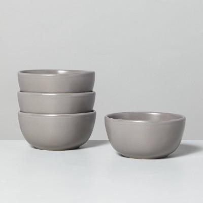 4pk Stoneware Mini Bowl Set Matte Gray - Hearth & Hand™ with Magnolia