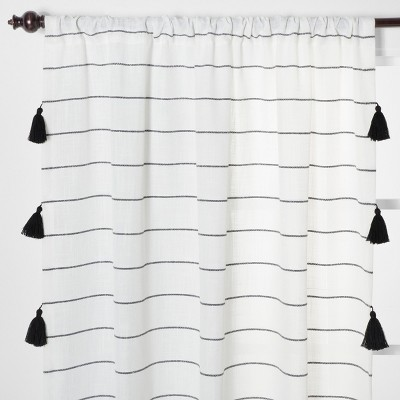 84 x54  Contrast Stripe Light Filtering Curtain Panels with Tassel Black/White - Opalhouse™