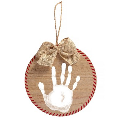 Pearhead Holiday Fill In Print Ornament - White