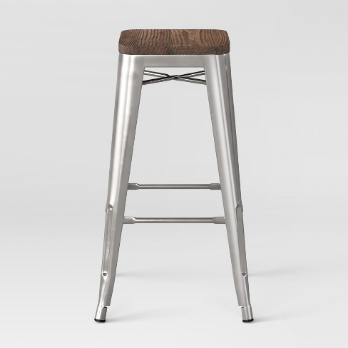 Hampden Industrial 29 Quot Barstool Silver Wood Threshold