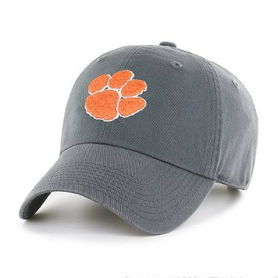 NCAA Clemson Tigers Men's Charcoal Gray Clean Up Fabric Washed Relaxed Fit Hat