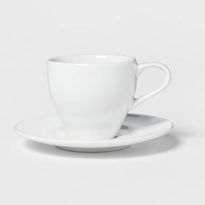 3.4oz Porcelain Espresso Cup with Saucer White - Threshold™