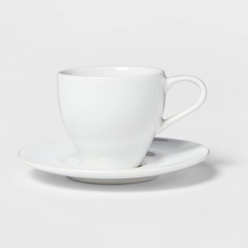 3.4oz Porcelain Espresso Cup with Saucer White - Threshold™ - image 1 of 3