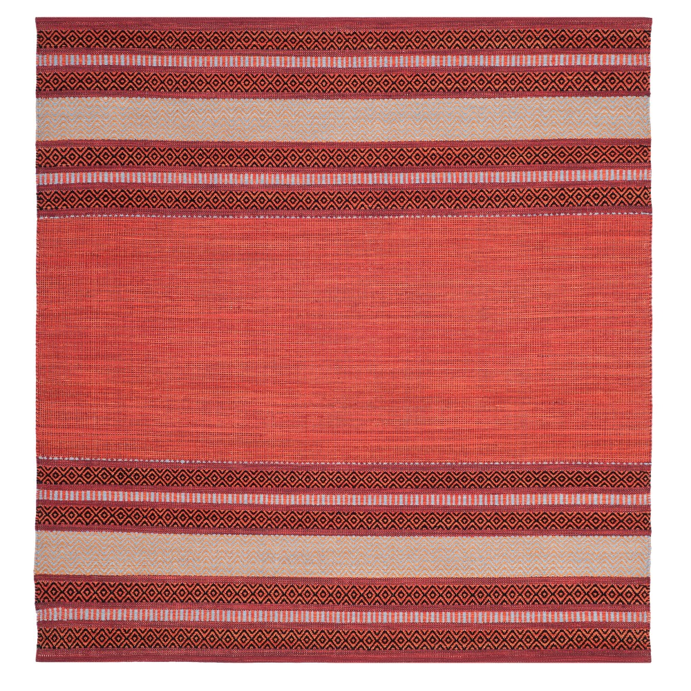 Red Ivory Stripe Woven Square Area Rug 6 X6 Safavieh