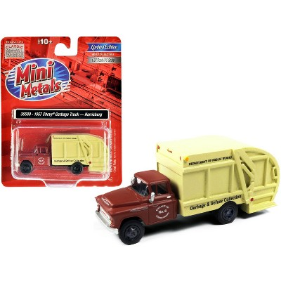 """1957 Chevrolet Garbage Truck """"Harrisburg Department of Public Works"""" Maroon and Yellow 1/87 (HO) Scale Model by Classic Metal Works"""