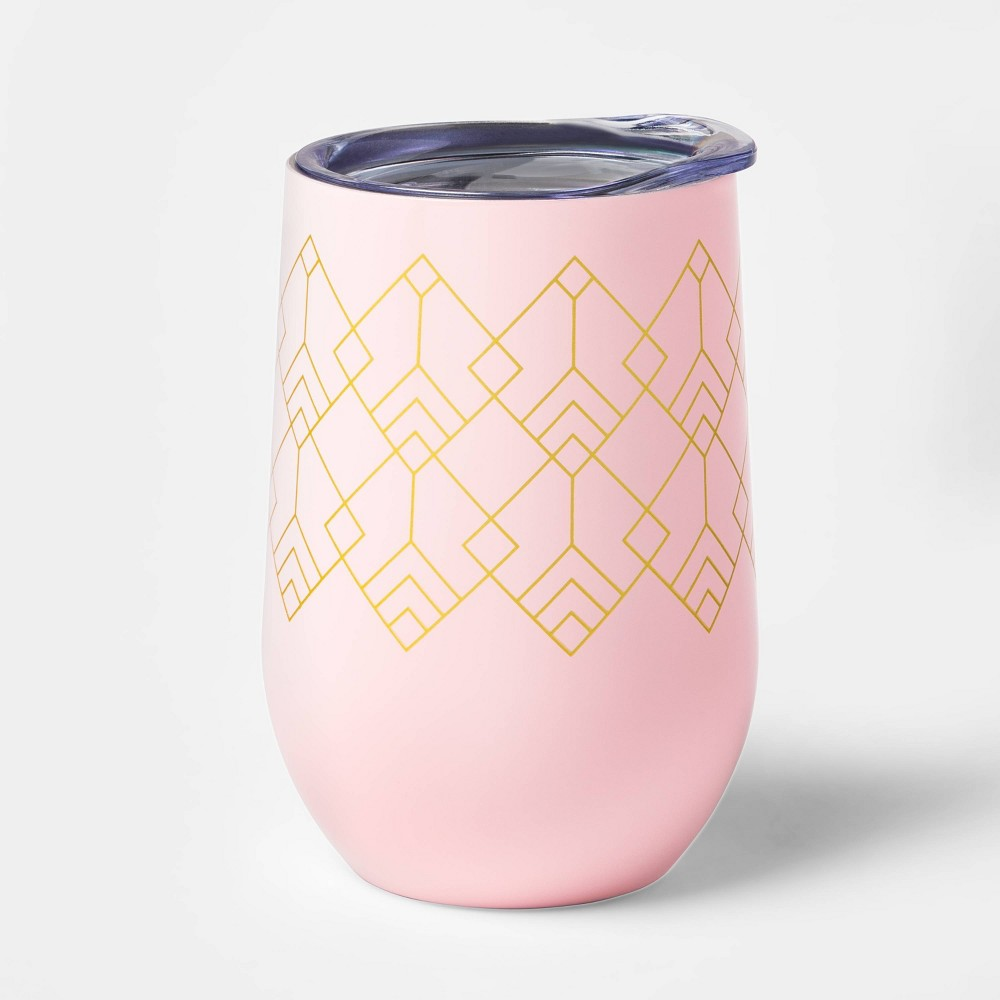 Image of 11oz Double Wall Stainless Steel Wine Tumbler with Lid Pink - Room Essentials , Gold Pink