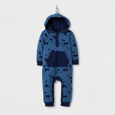 Baby Boys' Narwhal Print Critter Romper - Cat & Jack™ Shallow Blue 6-9M