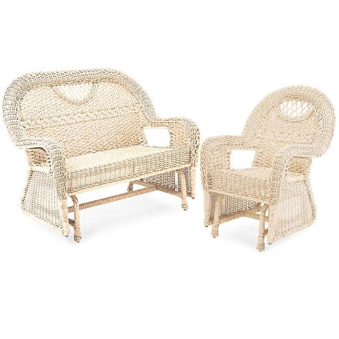 Awesome Prospect Hill Wicker Love Seat Glider And Chair Glider Set Plow Hearth Machost Co Dining Chair Design Ideas Machostcouk