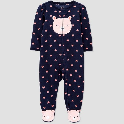 Baby Girls' Bear Fleece One Piece Pajama - Just One You® made by carter's Blue 3M