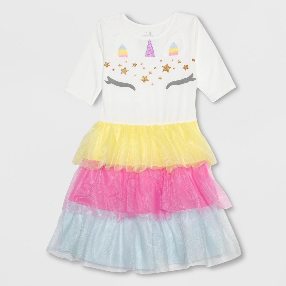 L.O.L. Vintage Girls' Unicorn Costume Dress - Ivory L, White