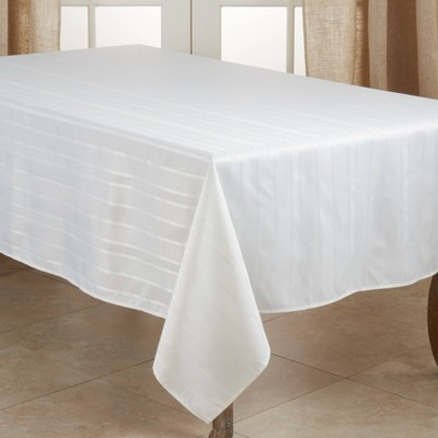 """140"""" x 65"""" Polyester Striped Jacquard Tablecloth White - Saro Lifestyle"""